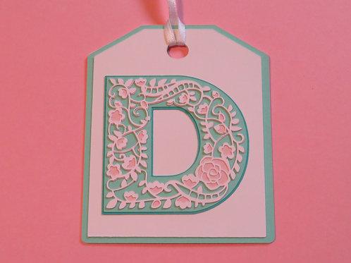 "Ornate Lace-like Letter ""D"" Monogram Gift Tag"