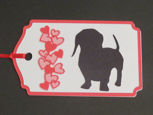 Dachshund Doxie Silhouette Beside Waterfall of Hearts Gift Tag