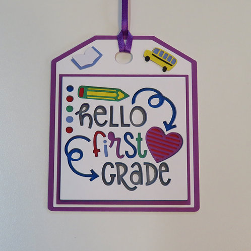 Hello First Grade Gift Tag