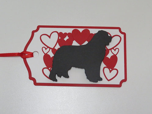 Bernese Mountain Dog Silhouette Under a Canopy of Hearts