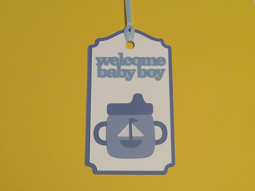 Welcome Baby Boy Sippy Cup Gift Tag