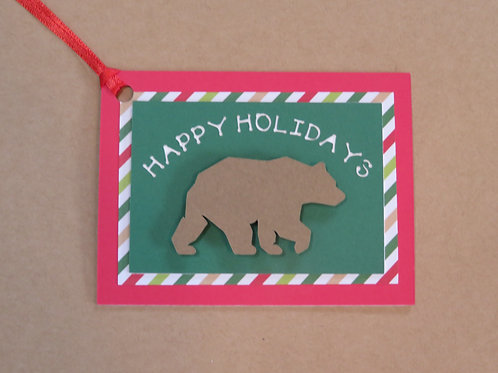 Happy Holidays Grizzly Bear Gift Tag