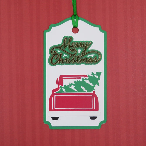 Merry Christmas Bringing Home the Tree Red Truck Gift Tag