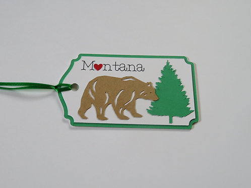 Heart in Montana Bear Silhouette Gift Tag