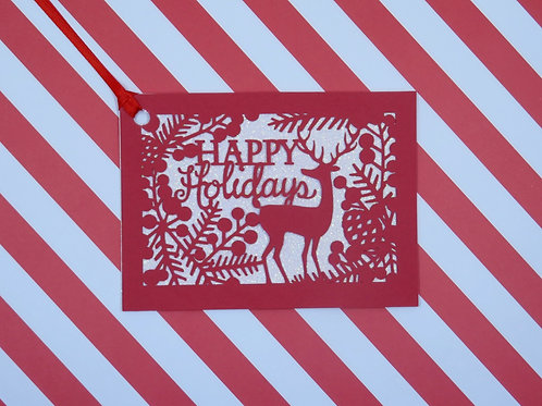 Happy Holidays Red Deer Silhouette on White Glitter Gift Tag
