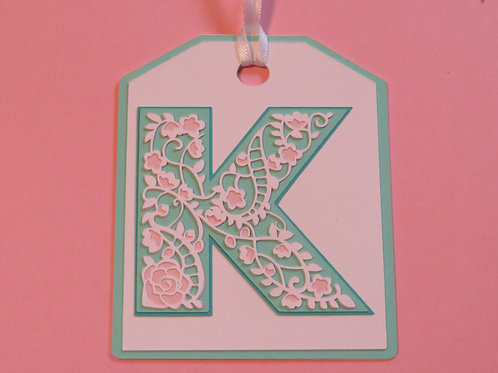 "Ornate Lace-like Letter ""K"" Monogram Gift Tag"