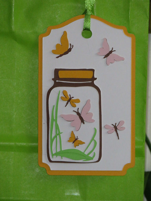 Mason Jar full of Butterflies and Dragonflies Gift Tag