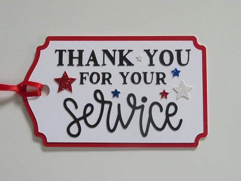 Thank You for Your Service Patriotic Gift Tag