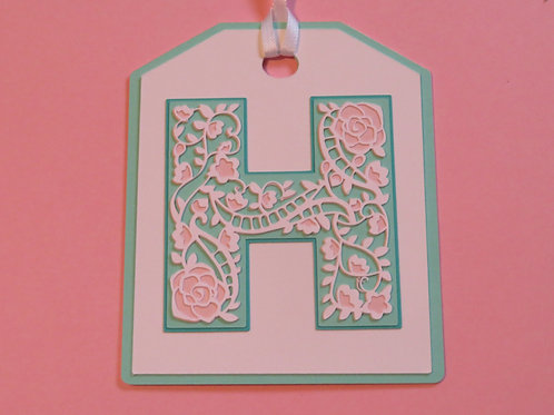 """Ornate Lace-like Letter """"H"""" Monogram Gift Tag"""