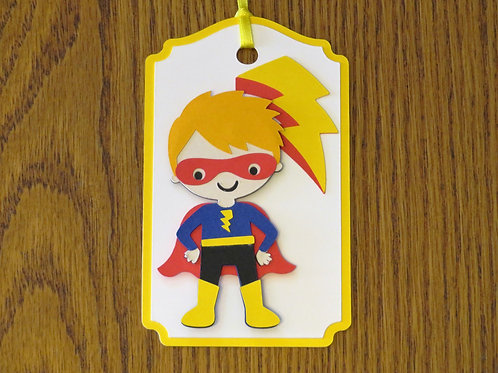 Super Hero with Lightning Bolt Gift Tag