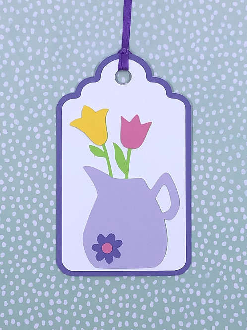 Pretty Lavender Pitcher with Flowers Gift Tag