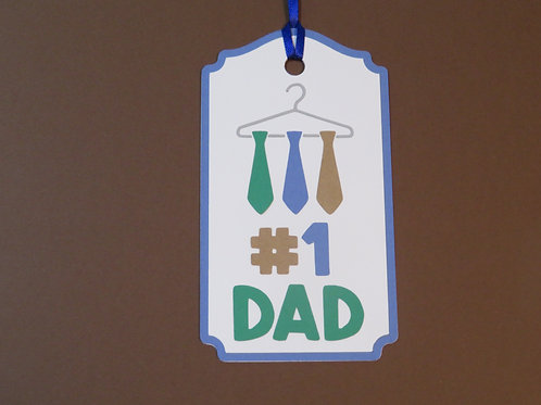 #1 Dad with Ties on a Hanger Father's Day Gift Tag