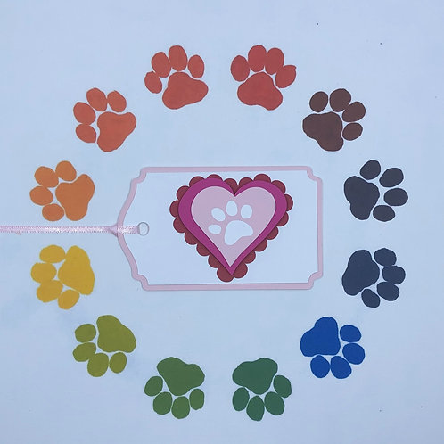 Paw Print on My Heart Gift Tag