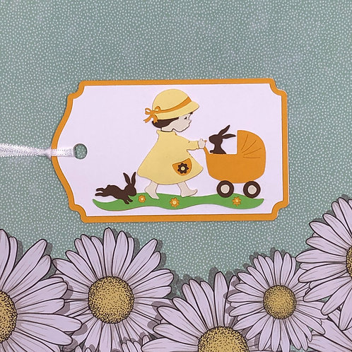 Barefoot Girl with Rabbits and Buggy Gift Tag