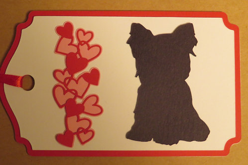 Yorkie Puppy Silhouette Beside a Waterfall of Hearts
