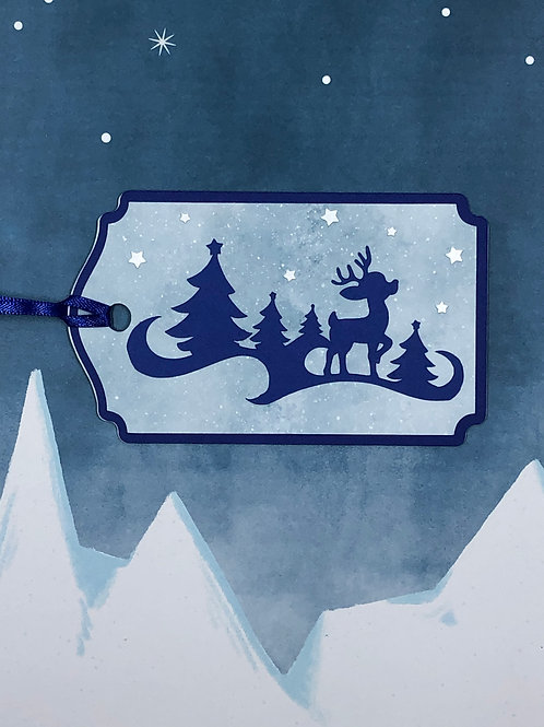 Starry Night Reindeer Silhouette Gift Tag