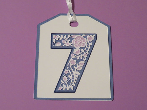 "Ornate Lace-like Number ""7"" Monogram Gift Tag"