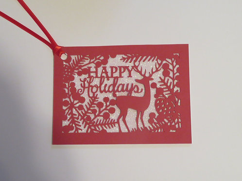 Happy Holidays Silhouette Red Over White Glitter Gift Tag