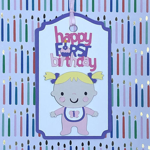 Happy First Birthday Girl Gift Tag