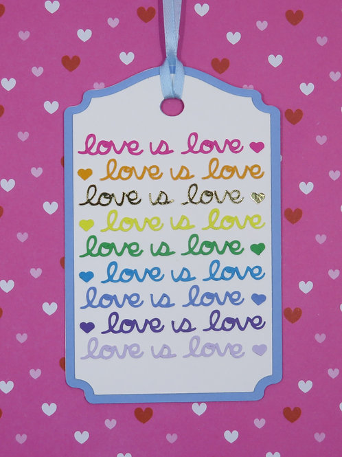 Rainbow Colored Love Is Love Layered Gift Tag