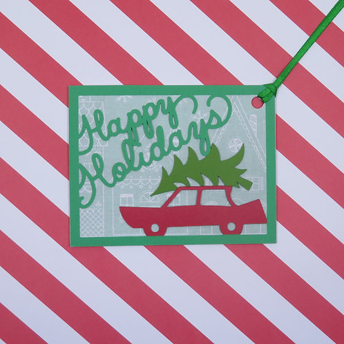 Happy Holidays Bringing Home the Tree Gift Tag