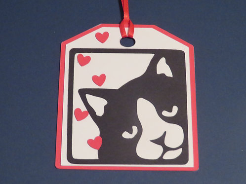 Black and White Tuxedo Cat on Right Gift Tag