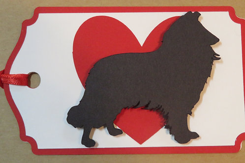Collie/Sheltie Silhouette in Front of Large Red Heart Gift Tag