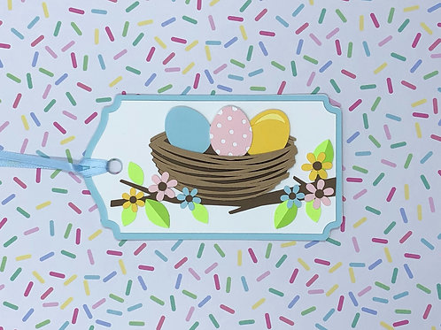 Three Eggs in a Nest Gift Tag