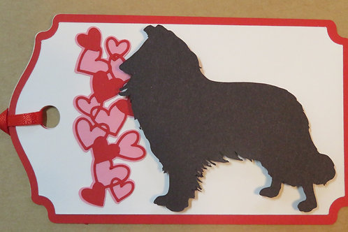 Collie/Sheltie Silhouette BesideWaterfall of Hearts