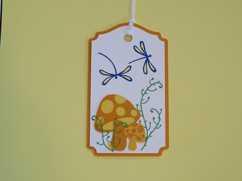 Dragonflies and Mushrooms Gift Tag