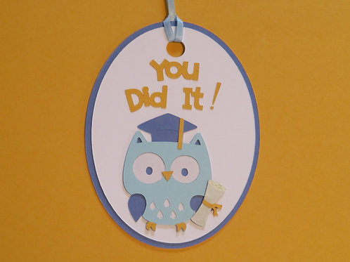 You Did It! Graduation Owl with Cap and Diploma Gift Tag