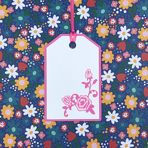 Pink Roses in Lower Right Corner Gift Tag