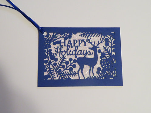 Happy Holidays Silhouette Blue Over White Glitter Gift Tag