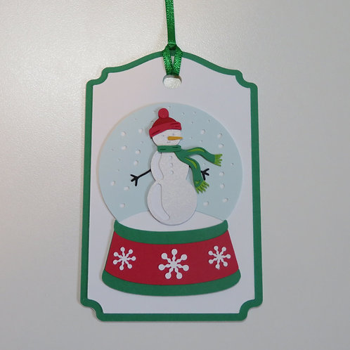 Snowflake Snowglobe with Snowman Gift Tag