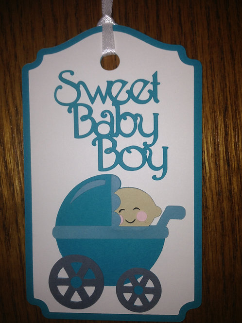 Handmade Layered Sweet Baby Boy in Stroller Gift Tag