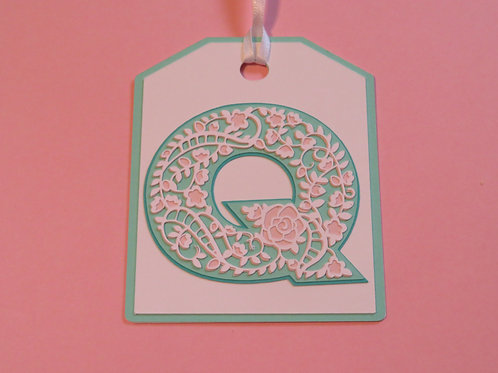 "Ornate Lace-like Letter ""Q"" Monogram Gift Tag"