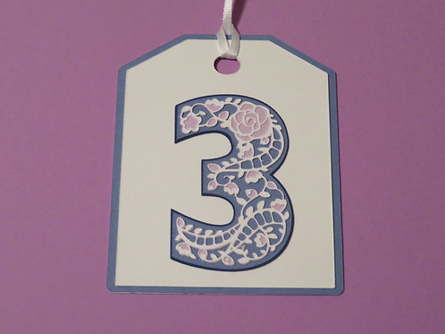 "Ornate Lace-like Number ""3"" Monogram Gift Tag"