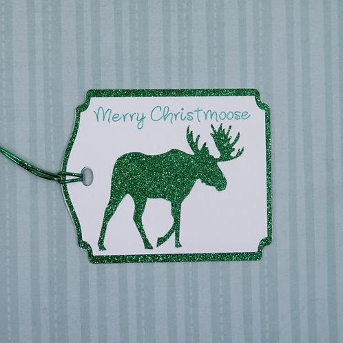 Merry Christmoose Green Glitter Moose Gift Tag