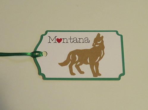 Heart in Montana Howling Wolf Silhouette Gift Tag