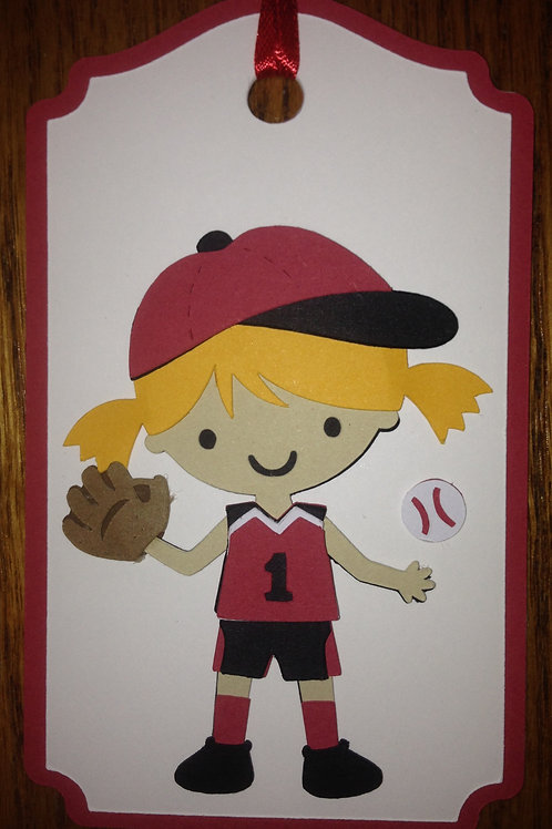 Baseball or Softball Girl Gift Tag