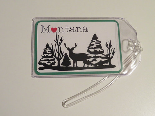 Heart in MT Deer Scene Silhouette Luggage Tag