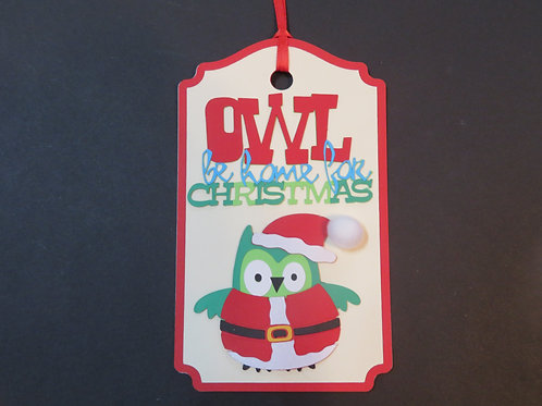 Owl Be Home For Christmas Gift Tag