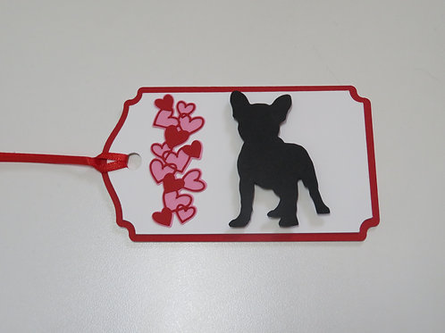 French Bulldog Silhouette Beside a Waterfall of Hearts