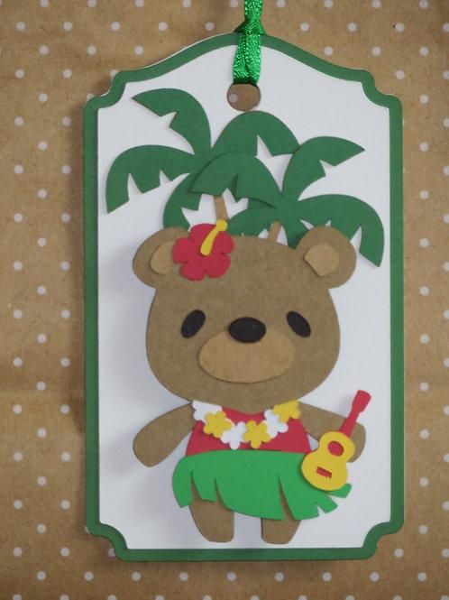 Tropical Luau Vacation Hula Bear Gift Tag