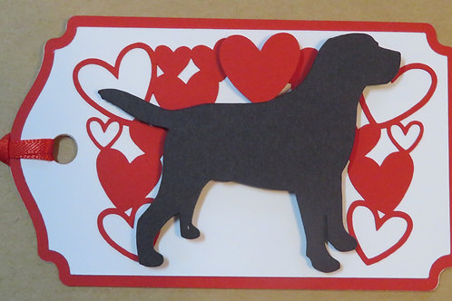 Retriever Silhouette Under Canopy of Hearts Gift Tag