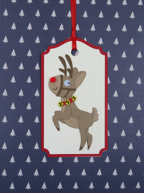 Many Poses of Rudolph Pose 3 Gift Tag