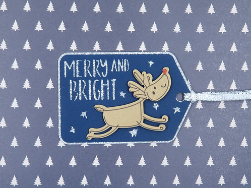 Merry and Bright Rudolph Gift Tag