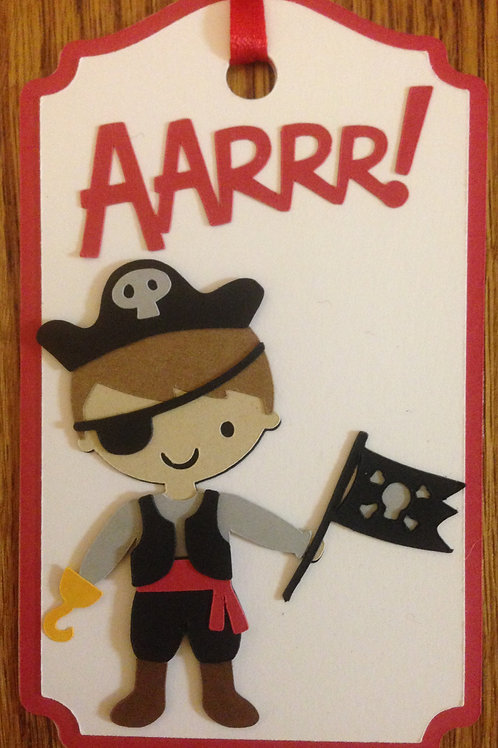 Pirate Boy with Hook and Flag Gift Tag