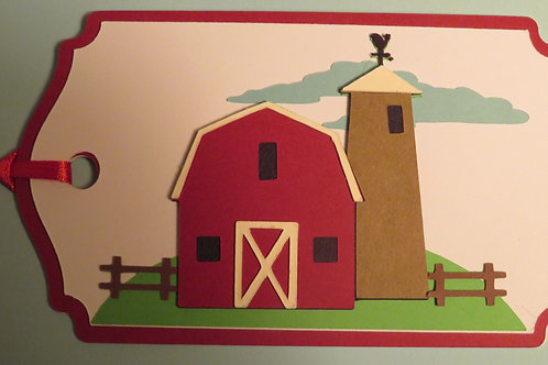Country Barn and Silo Gift Tag