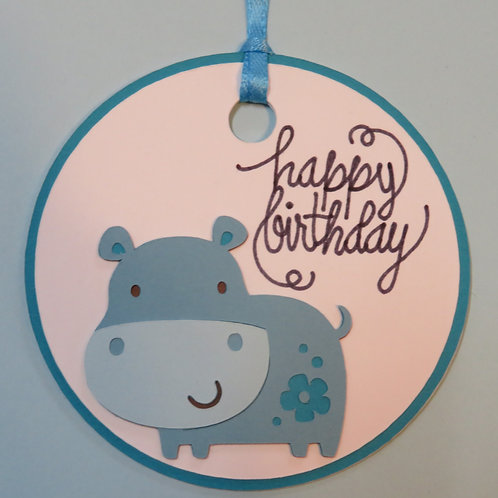 Happy Birthday Hippo Gift Tag